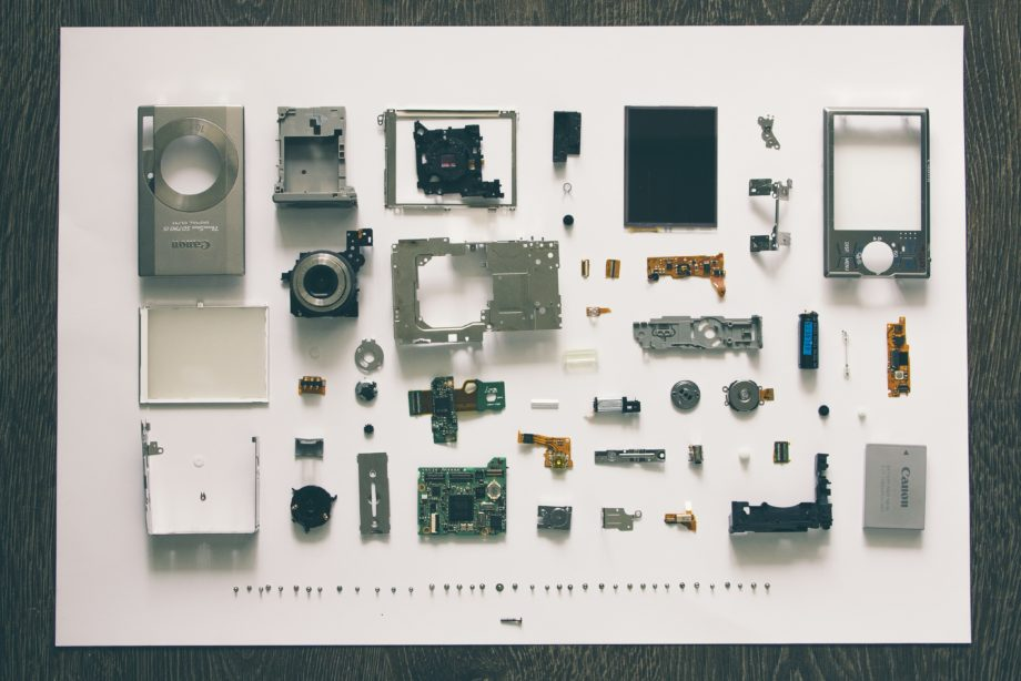flatlay photography of camera module parts